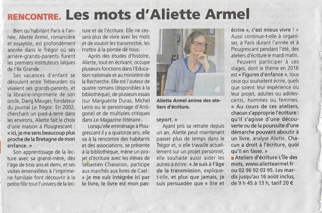 Les ateliers d'été dans le journal Le Trégor